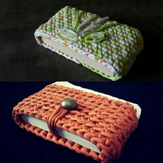 Protege Livre Realise Au Crochet En Trapilho Belle