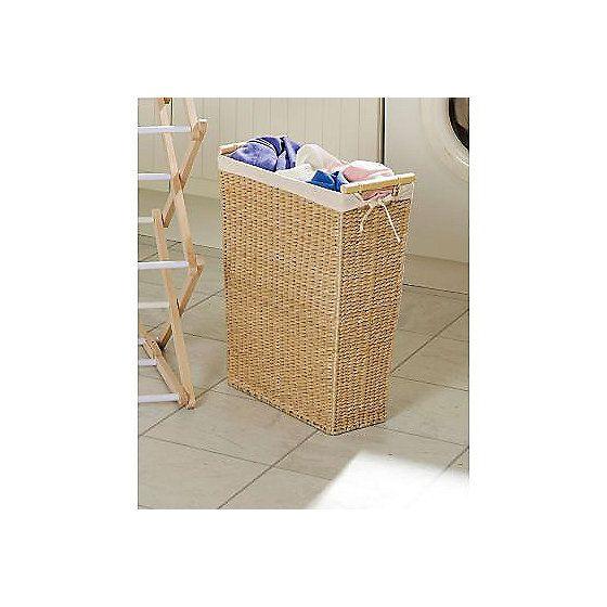 Slimline Laundry Basket Basket Wooden Handles Home