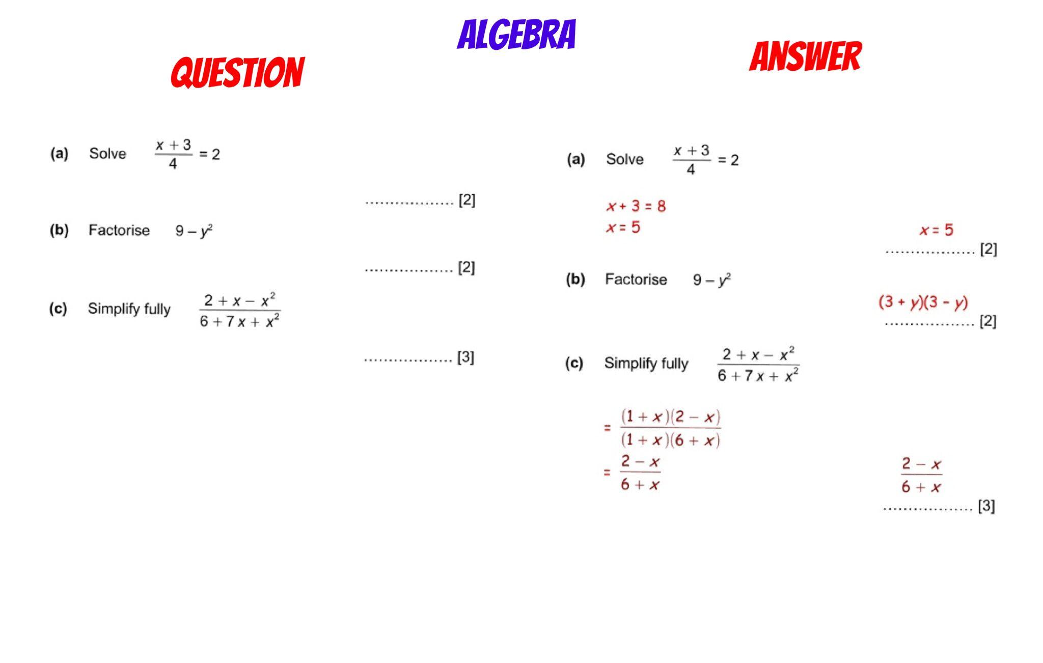 Gcse Revision Solving Simplifying Algebraic Fractions Factorising