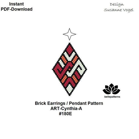 beaded earrings pattern,brick stitch,pdf-download,#180E