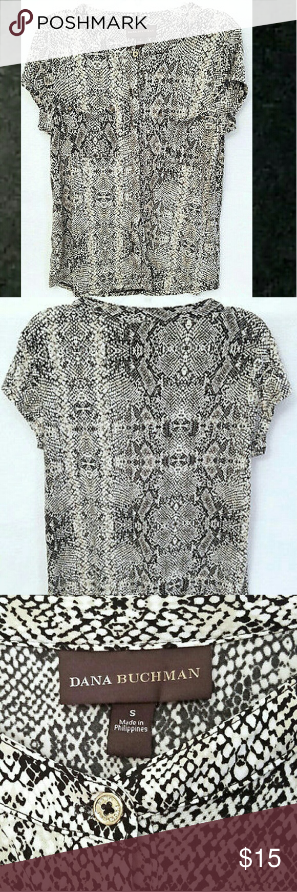 "Dana Buchman Black White Snake Print Made by Dana Buchman 95% polyester, 5% spandex Machine wash, hang dry  Buttons down the front 2 chest pockets Cap sleeve  Measurements are approximate      Length 25""     Chest 36""  (Inv 3-601) Dana Buchman Tops Blouses"