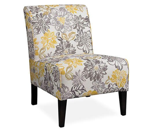 Lacey Gray Amp Yellow Floral Armless Accent Chair In 2019