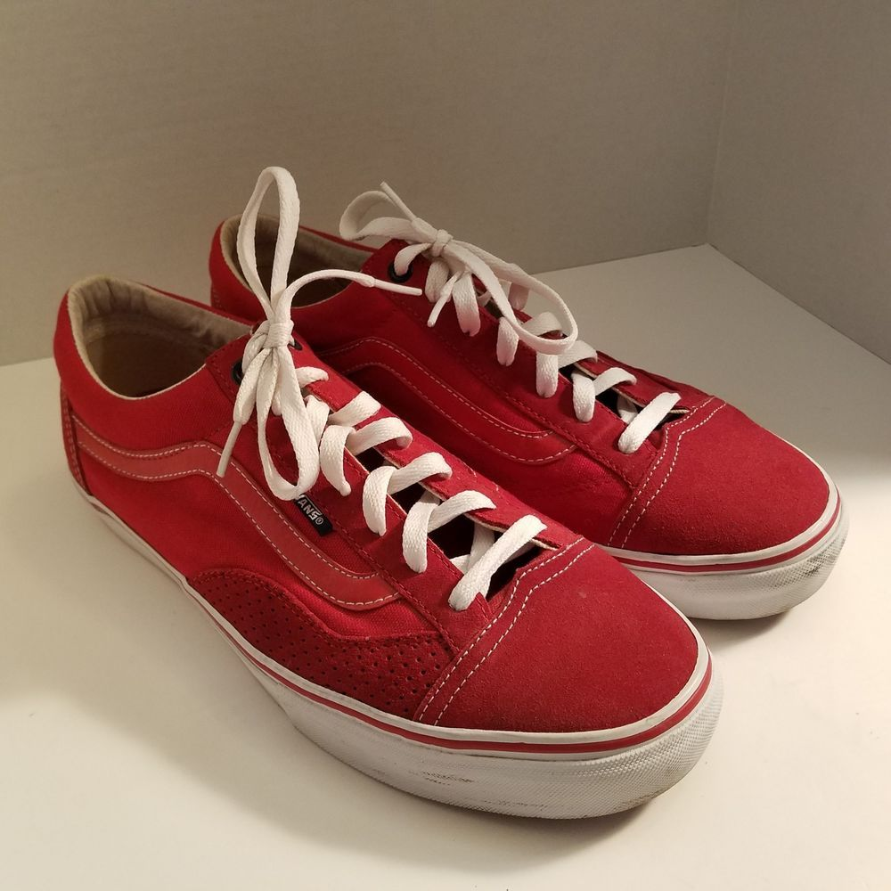 afe2349b268 Vans Red White Canvas Men s Shoes Sneakers Size 11M  VANS   CasualWearSkateboarding