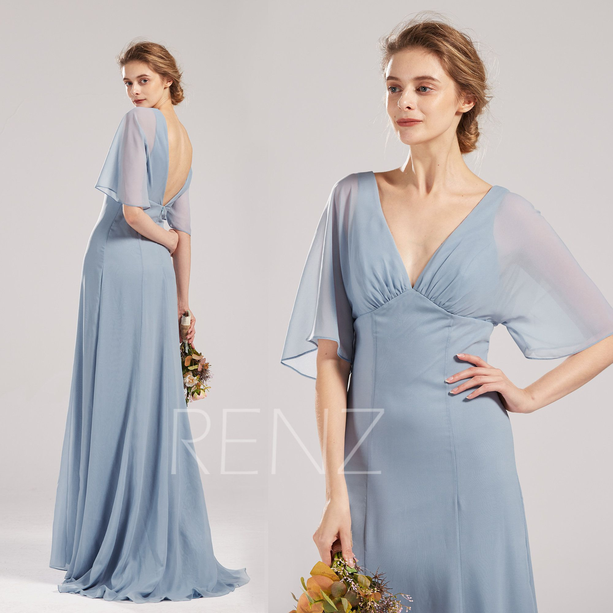 Bridesmaid Dress Pale Steel Blue Prom Dress V Neck Ruffle Half Sleeve Formal Dress Empire Waist A Line L Bridesmaid Dresses Formal Dresses With Sleeves Dresses [ 2000 x 2000 Pixel ]