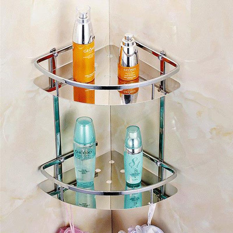 Stainless Steel 304 Bathroom Corner Shelf Shower Room Rack For Body Wash Bottle Bathroom Shelf Decor Bathroom