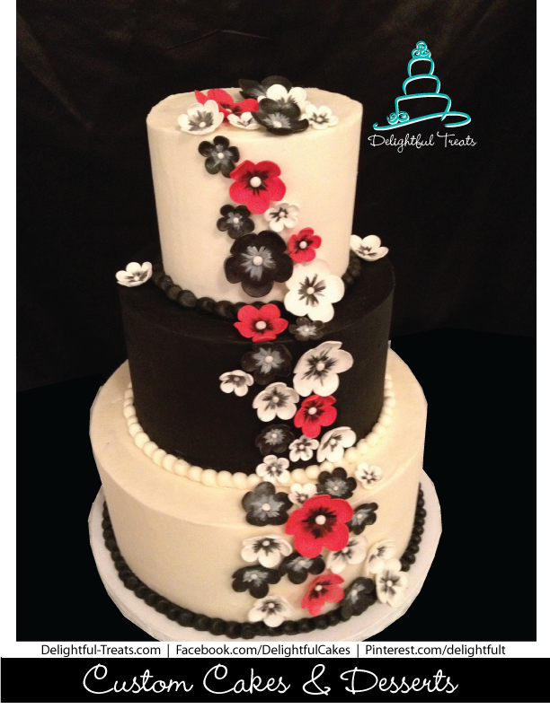 red black white wedding cake 3 tier black amp white wedding cake with flowers 19119