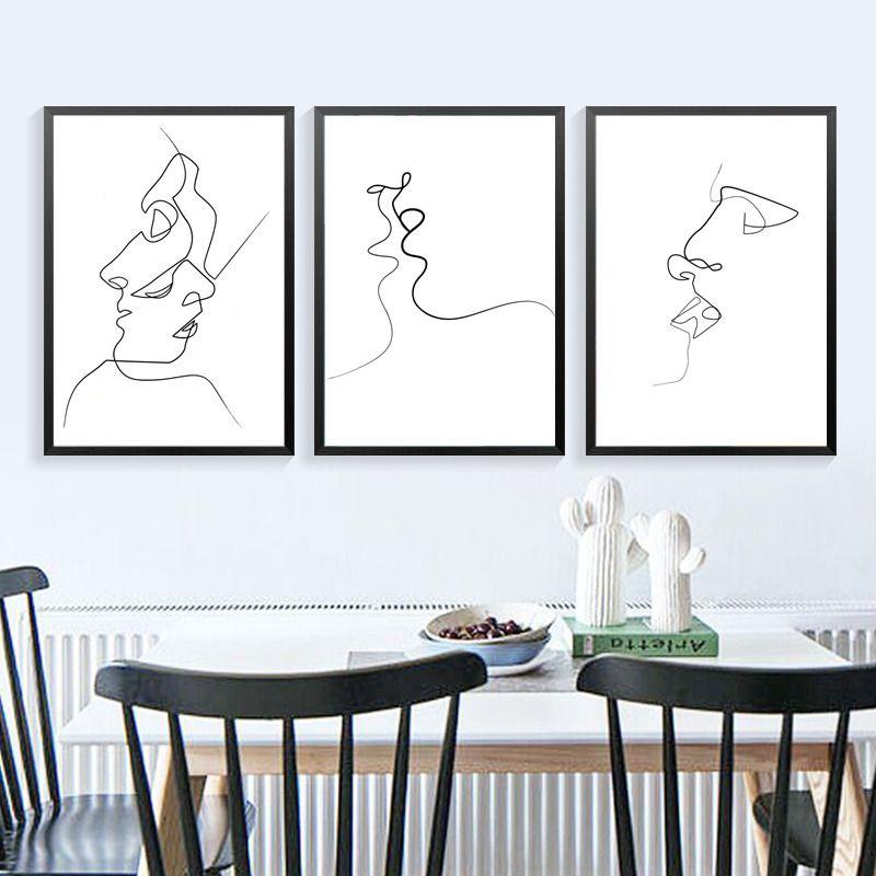 Moderne abstrakte Kunst schwarze weiße Linie Person Gesicht auf - moderne bilder fürs wohnzimmer