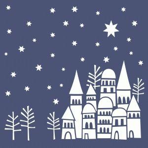 Silhouette Design Store - View Design #70803: snowy rooftops winter scene 12x12…