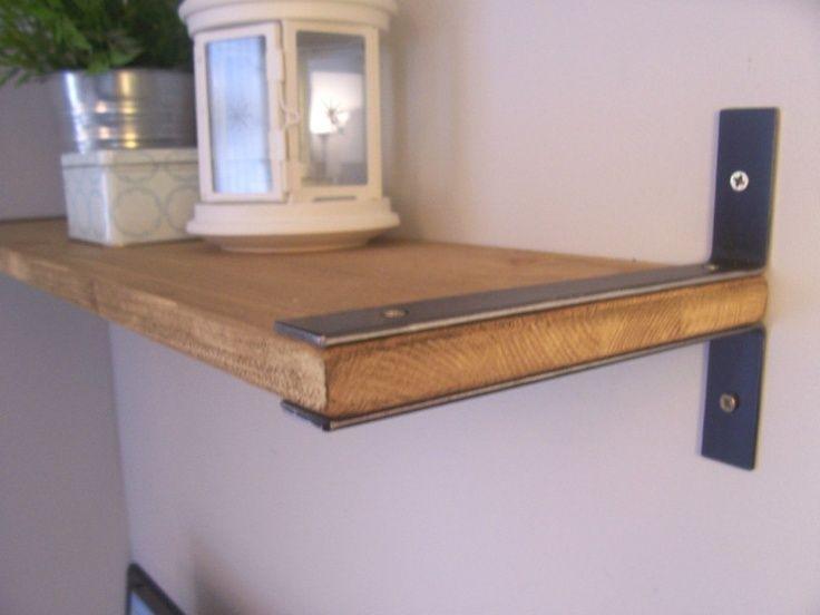 Rustic Wooden Country Style Shelf With 4 Iron Brackets Vintage And Diy Shelf Brackets Diy Shelves Shelf Brackets