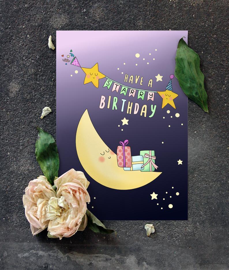 Happy Birthday Card Star And Moon Birthday Card Kids Etsy Kids Birthday Cards Cute Birthday Cards Birthday Cards