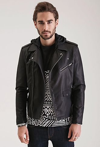 Hooded Faux Leather Moto Jacket 21 Men 2000136953 With Images