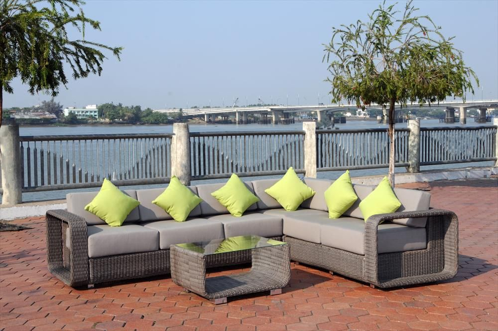BuildDirect®: Patio Furniture Conversation Sets Wicker Sectional Sets Santa  Fe 4 Piece Sectional Sofa