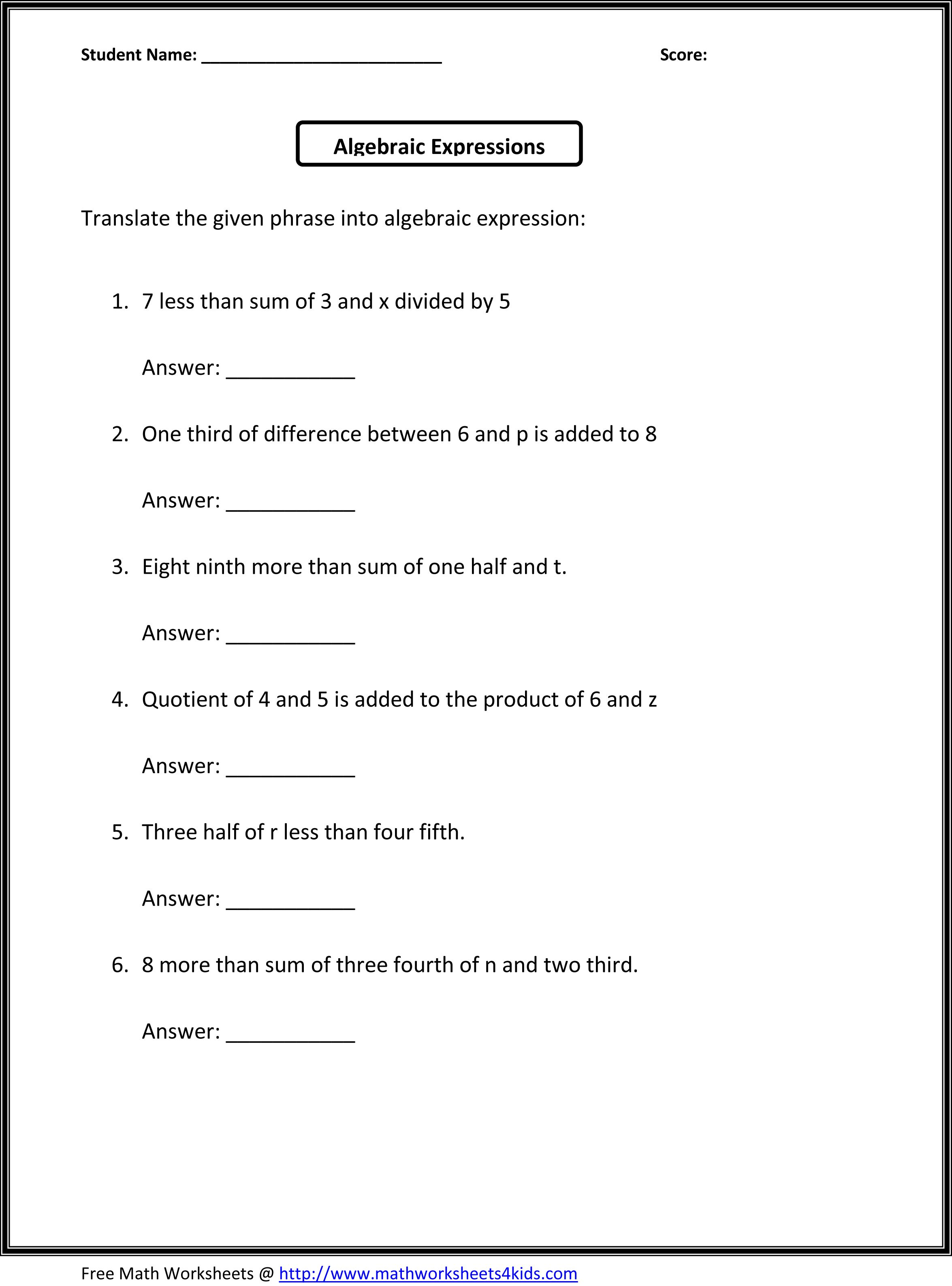 small resolution of Algebra Worksheets 6th   Printable Worksheets and Activities for Teachers