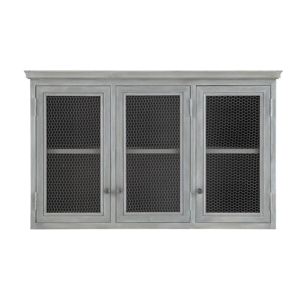 meuble haut de cuisine en bois d acacia gris l 120 cm