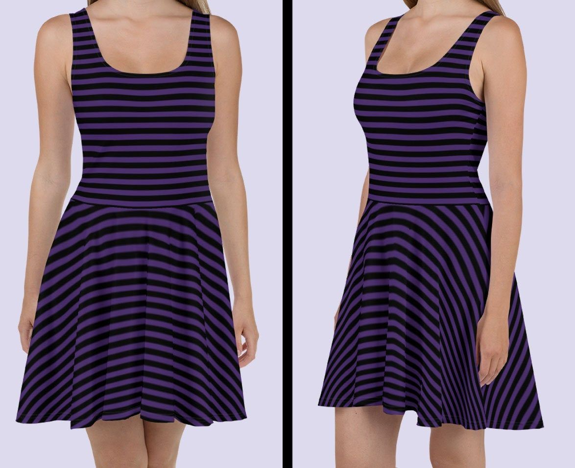 Striped purple gothic dress|Gothic clothing|Plus size goth dress|Emo clothing|Emo dress|Halloween dress women|Pirate dress|Short Witch dress #emodresses