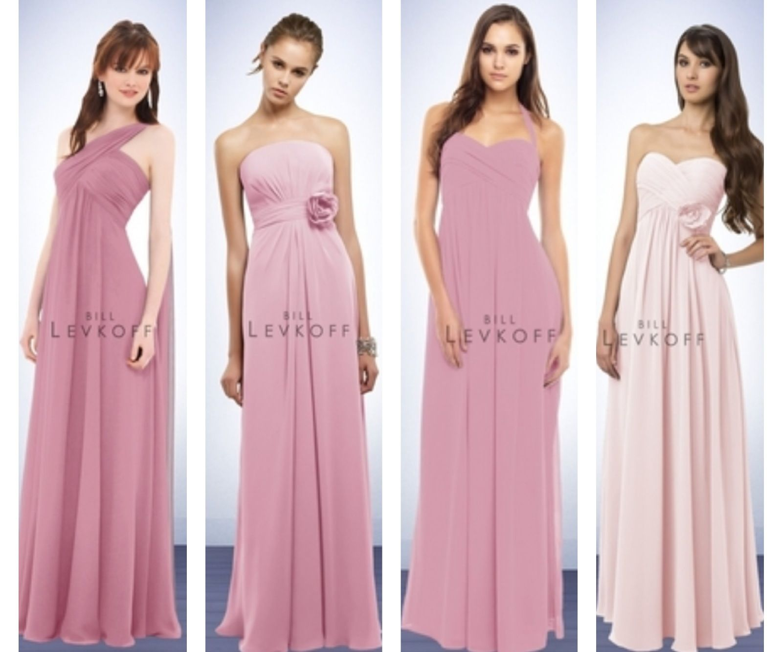 bridesmaids\' dresses. All chiffon, dusty rose color except the maid ...