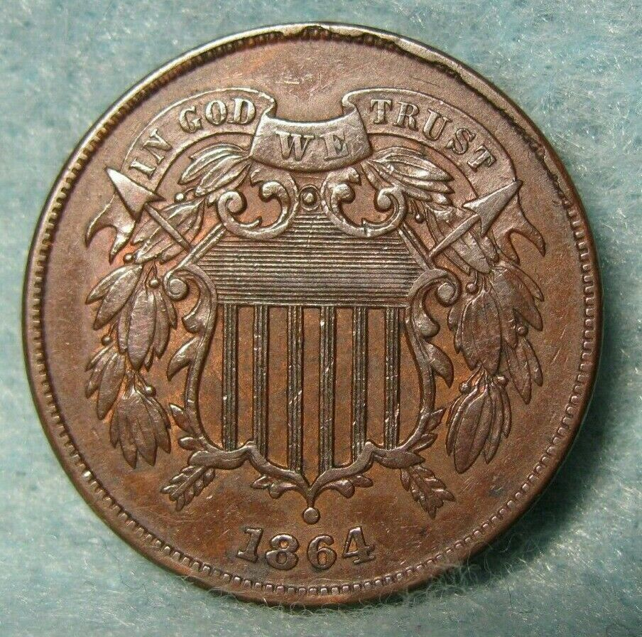civil war era 1864 us two cent piece coin
