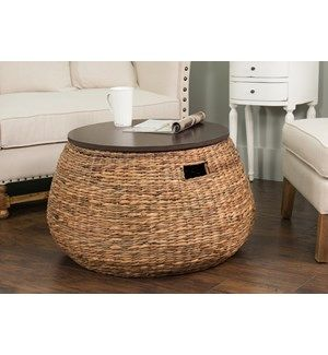 Woven Coffee Table With Storage And Wood Top Coffee Table With Storage Coffee Table Bohemian Living Room Decor Wicker coffee table with storage