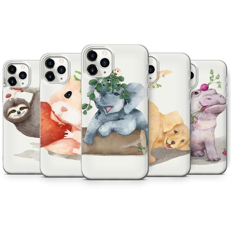 Watercolor Animals Cute Phone Case Silicone Case Iphone 6 Etsy In 2021 Cute Phone Cases Silicon Case Iphone Cases