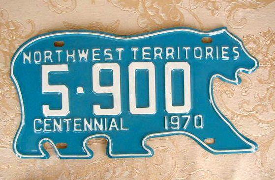 Vintage license plate. Northwest territories.