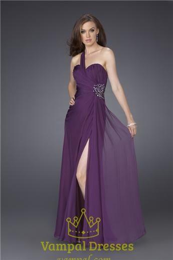 purple chiffon bridesmaid dresses | ... of Purple One Shoulder Long Dress, Purple Chiffon Bridesmaid Dress