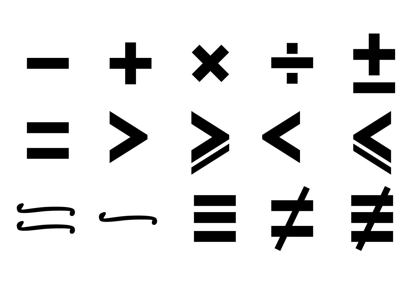 Math Symbols Free Vector Art