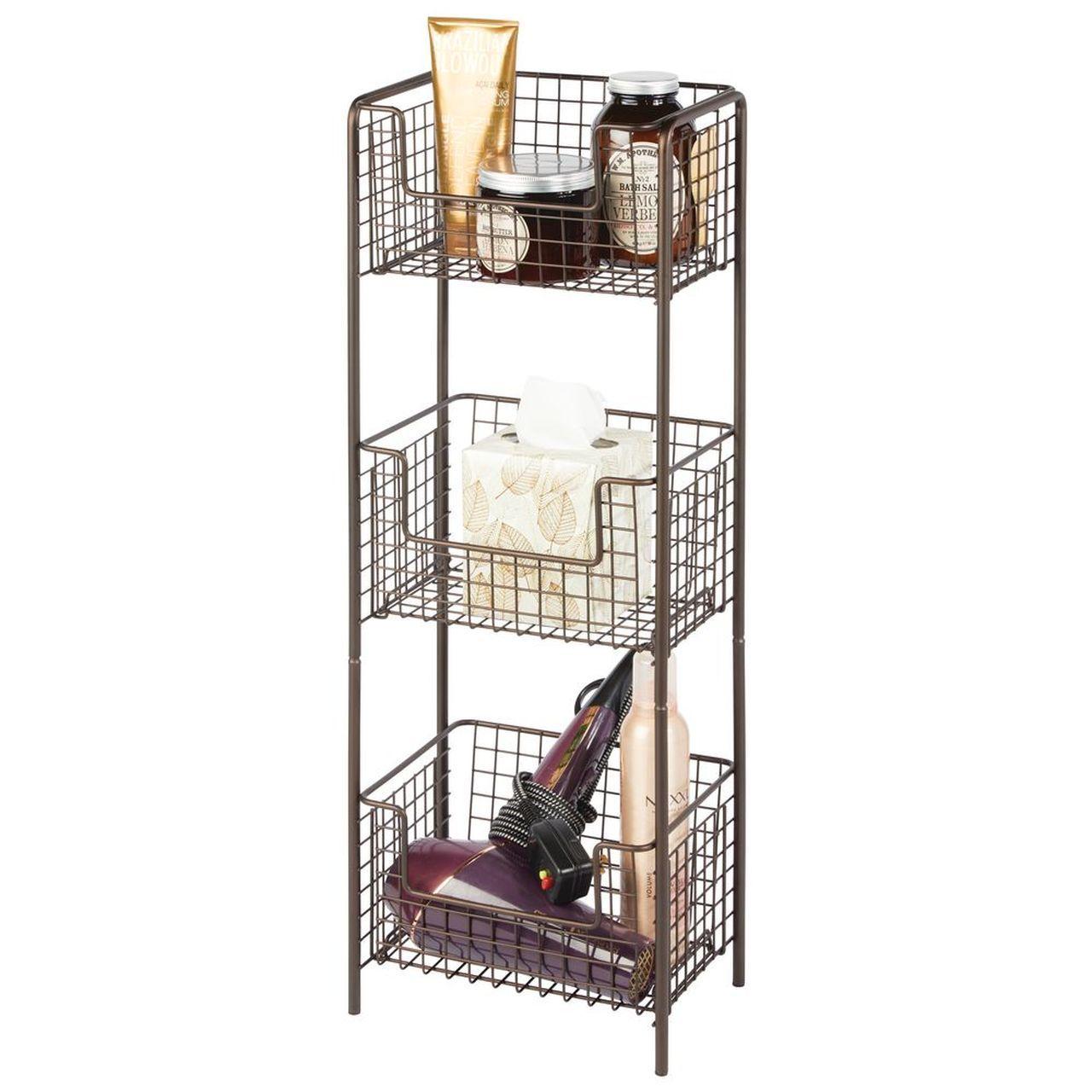 3 Tier Wire Free Standing Bathroom Storage Shelf Bathroom Shelving Unit Bathroom Storage Shelves Storage Shelves