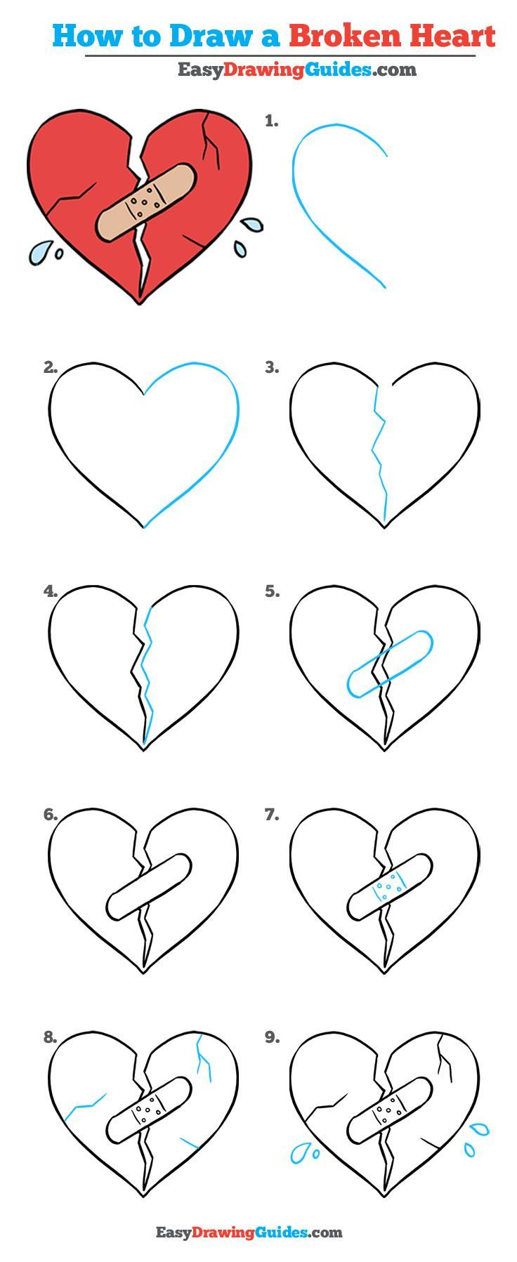 How To Draw A Broken Heart Really Easy Drawing Tutorial With