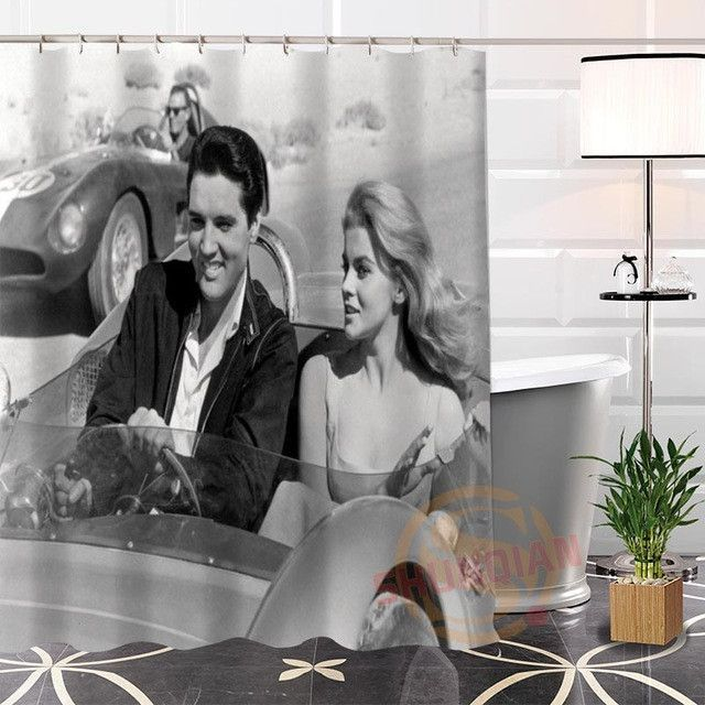 100 Polyester Custom Popular Elvis Presley 2 Fabric Modern Shower