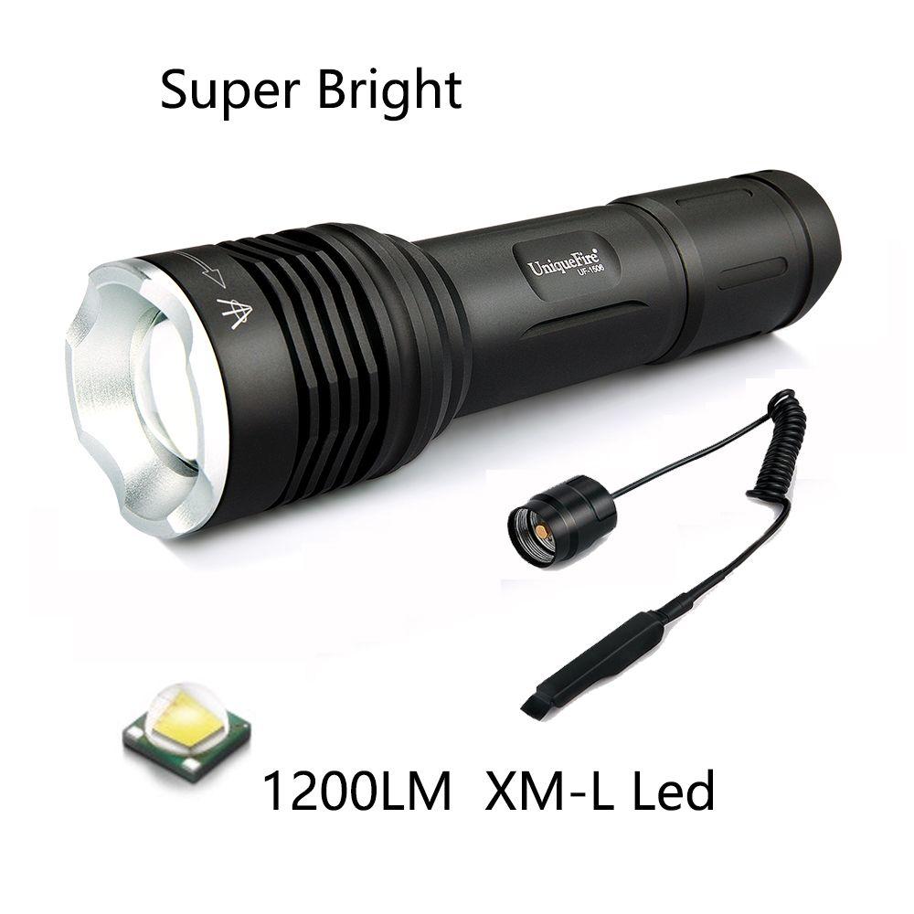 Flash Light Uniquefire Uf 1506 Cree Xml 1200lm Led Flashlight Torch 20mm Convex Lens 5 Modes Rmote Pressure Hunting Flashlight Led Flashlight Portable Light