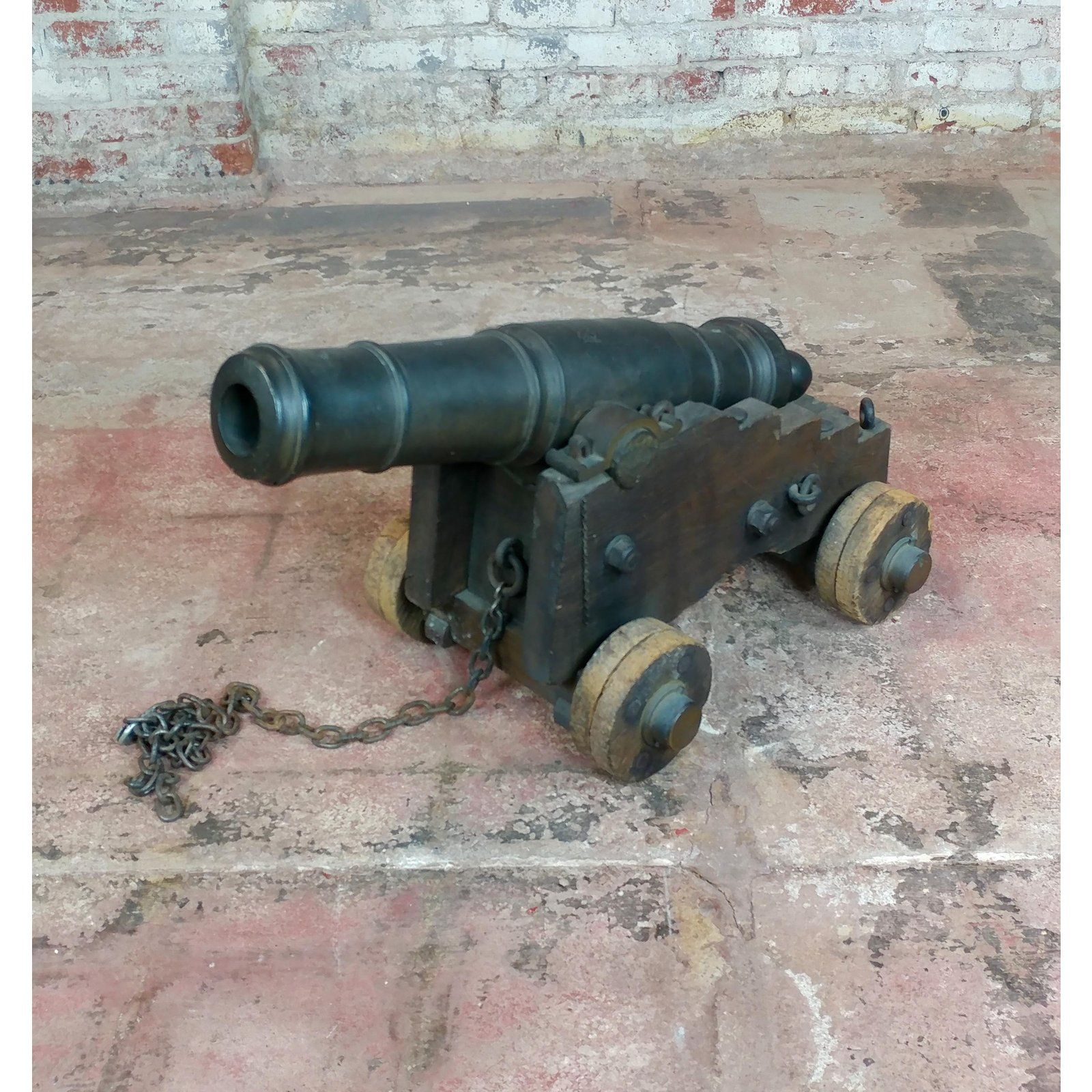 Antique Cast Iron Signal Cannon W Wooden Wheeled Cart