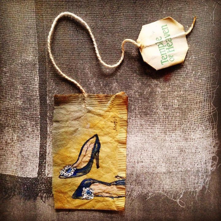 Artist Uses Soggy, Stained Tea Bags as Canvas for Detailed Daily Art - My Modern Met
