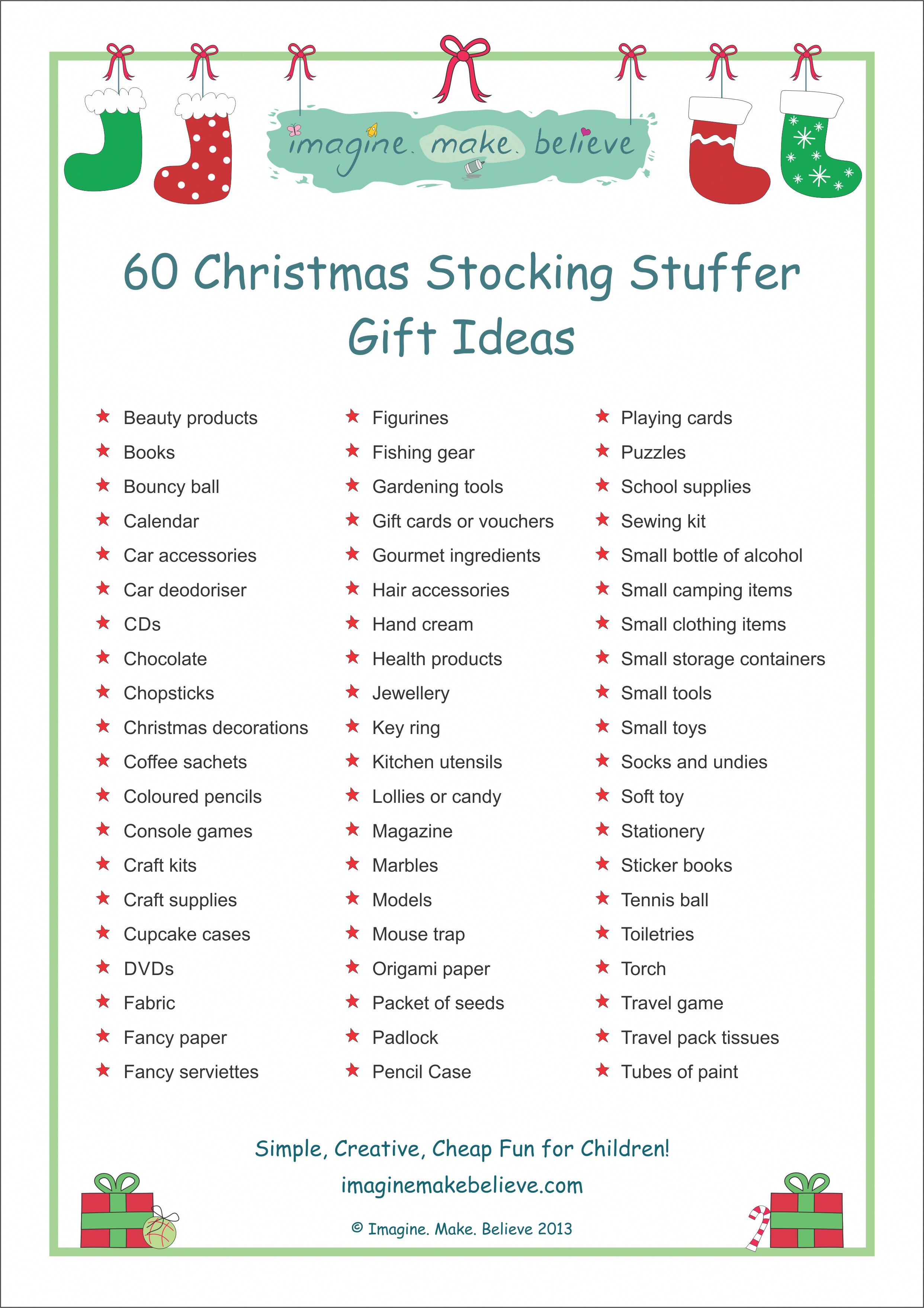 Christmas Stocking Stuffer Ideas , Imagine. Make. Believe