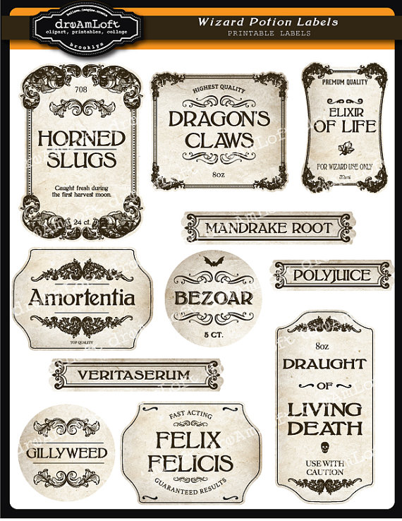 image relating to Harry Potter Potion Labels Printable titled Wizard Potion and Halloween Apothecary Printable Frames and