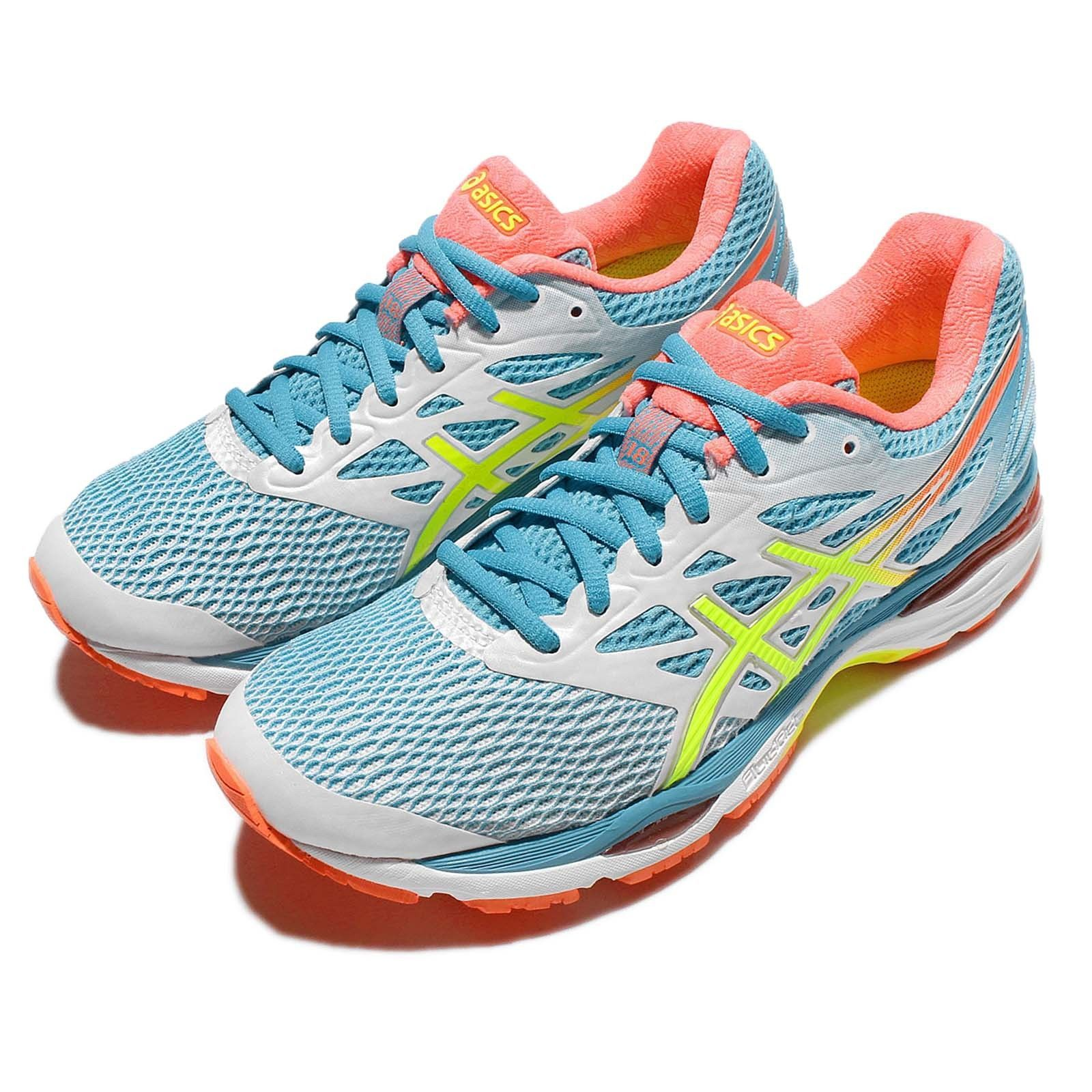 415e26b05340 Asics Gel-Cumulus 18 Blue Yellow Womens Running Shoes Sneakers T6C8N-0107