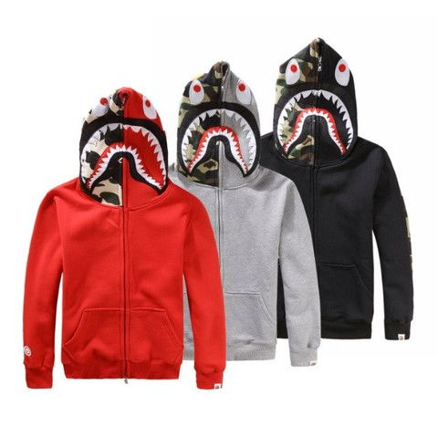 Popular A Bathing Ape BAPE Shark Head Coat Full Zipper Camouflage Jacket Hoodie.