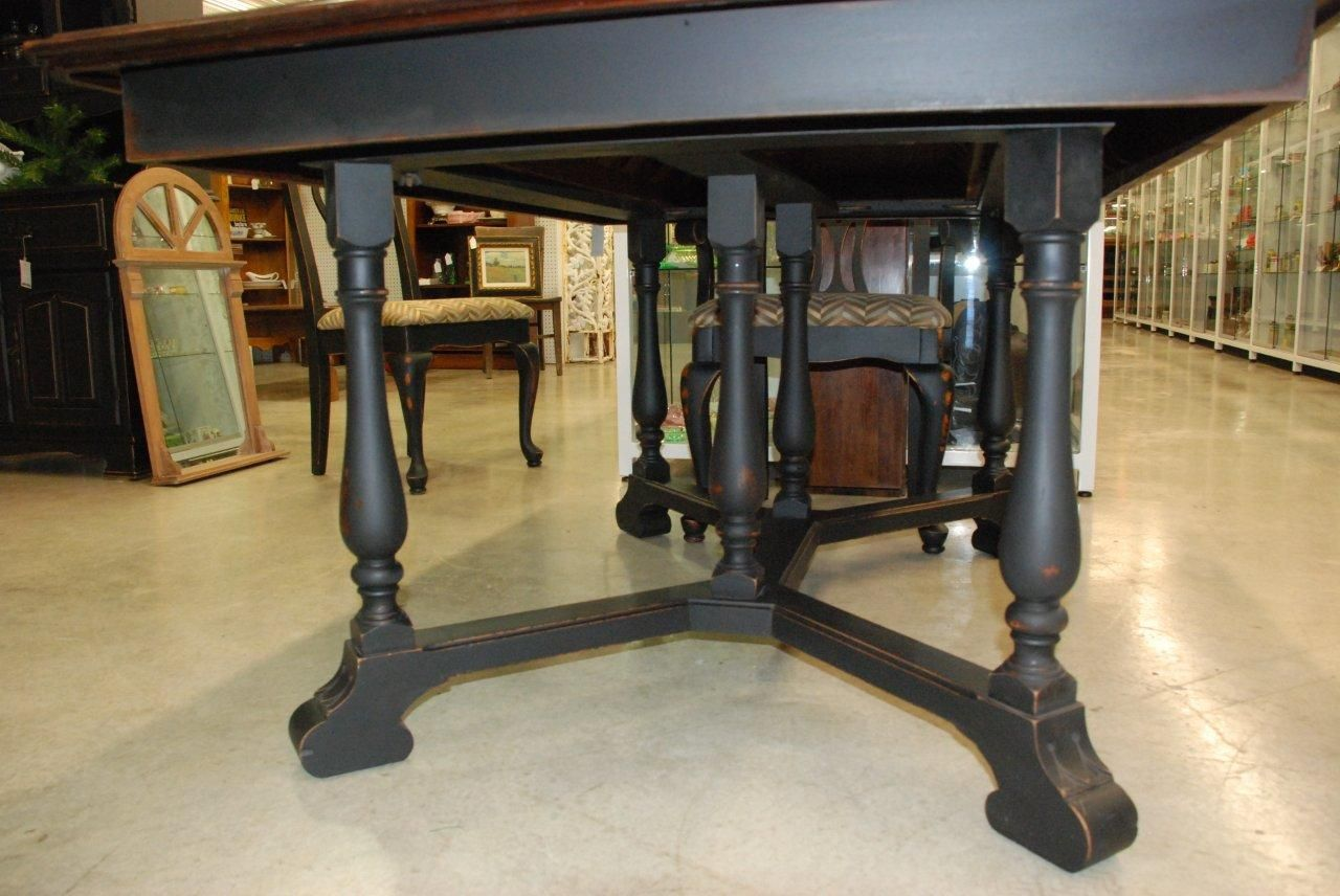 Stained Top, Black Bottom Kitchen Table | Table Painted Black And Distressed  With Rustic Stained