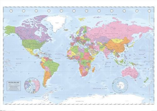 Political world map miller projection large poster by giant political world map miller projection large poster by giant easyart gumiabroncs Images
