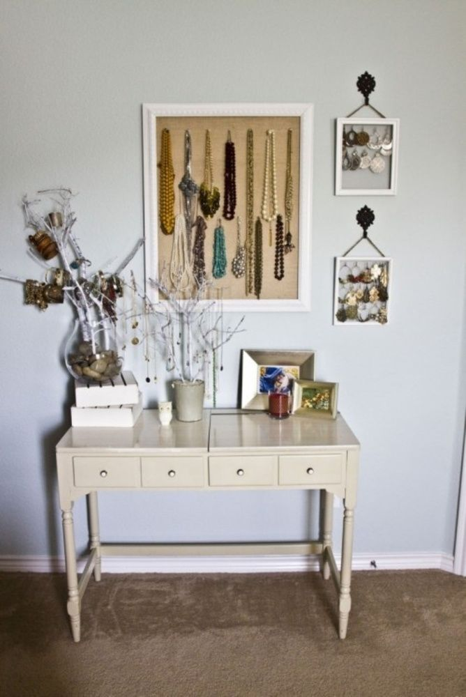 love this little setup. if it had a mirror, t would be great vanity.