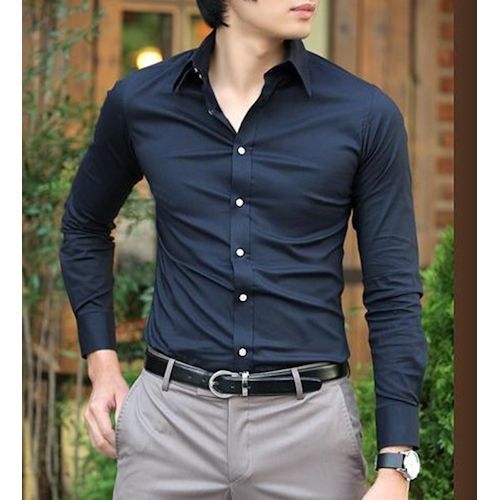 Men/'s Casual Long Sleeve Button Down Collar Suede Fashion Slim Fit Shirt