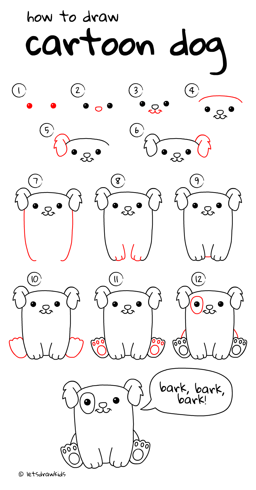How To Draw Cartoon Dog Easy Drawing Step By Step Perfect For Kids Let S Draw Kids Http Letsdrawkids Com Easy Drawings Cartoon Drawings Drawing For Kids