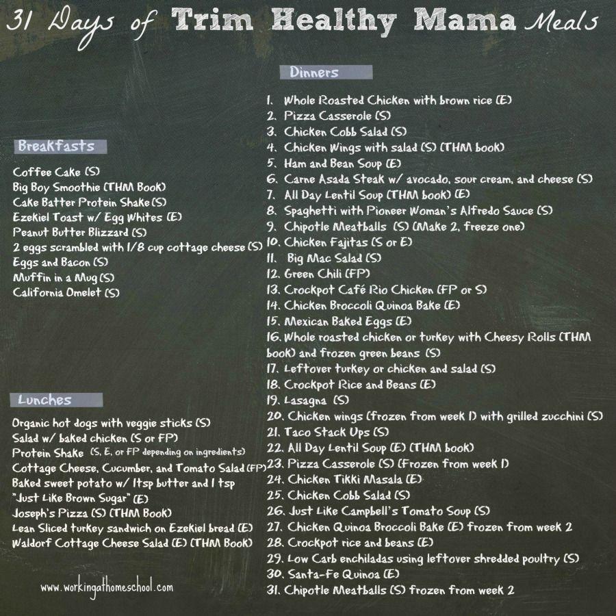 It is a photo of Smart Trim Healthy Mama Menu Plan