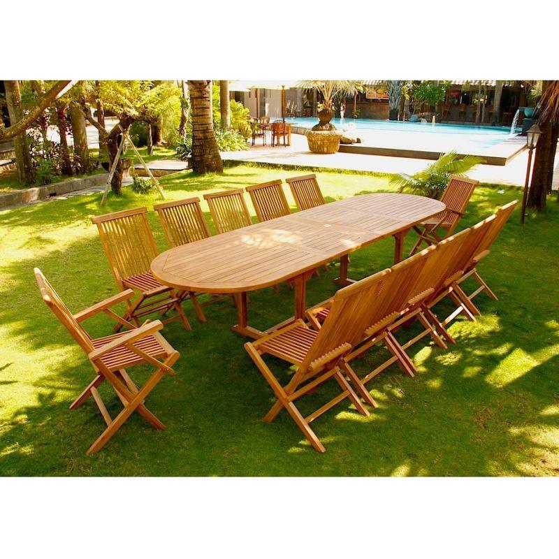 Kajang: Salon de jardin Teck brut 12/14 pers - Table ovale ...