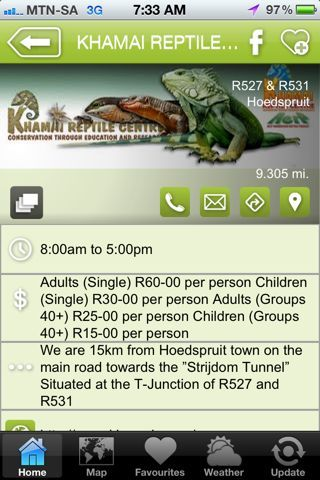"""Khamai Reptile Park is a hAPPy activity - a """"what to do"""" listing on the Hoedspruit Info App"""