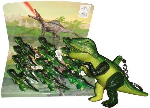 PORTACHIAVI LED DINOSAURO con verso sonoro. Porta chiavi dinosauro in plastica con luce che fuoriesce dalla bocca