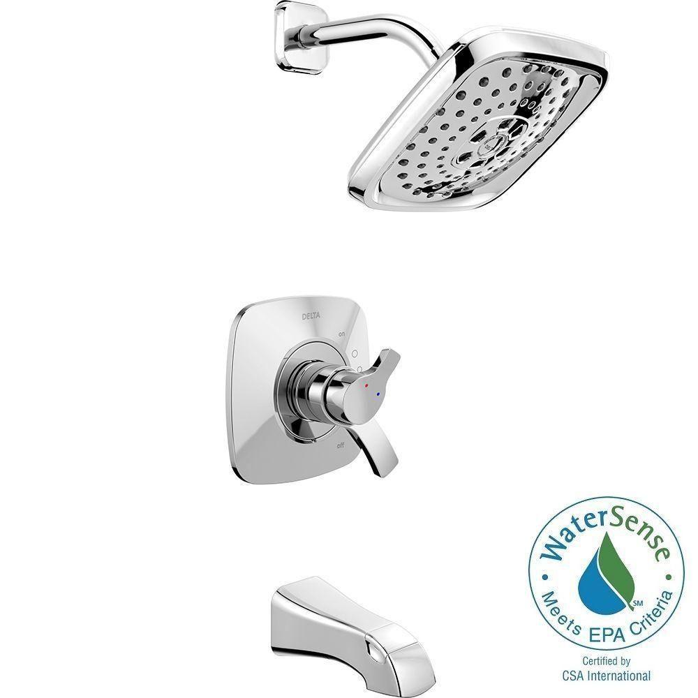 delta tesla h2okinetic single handle tub and shower faucet trim kit