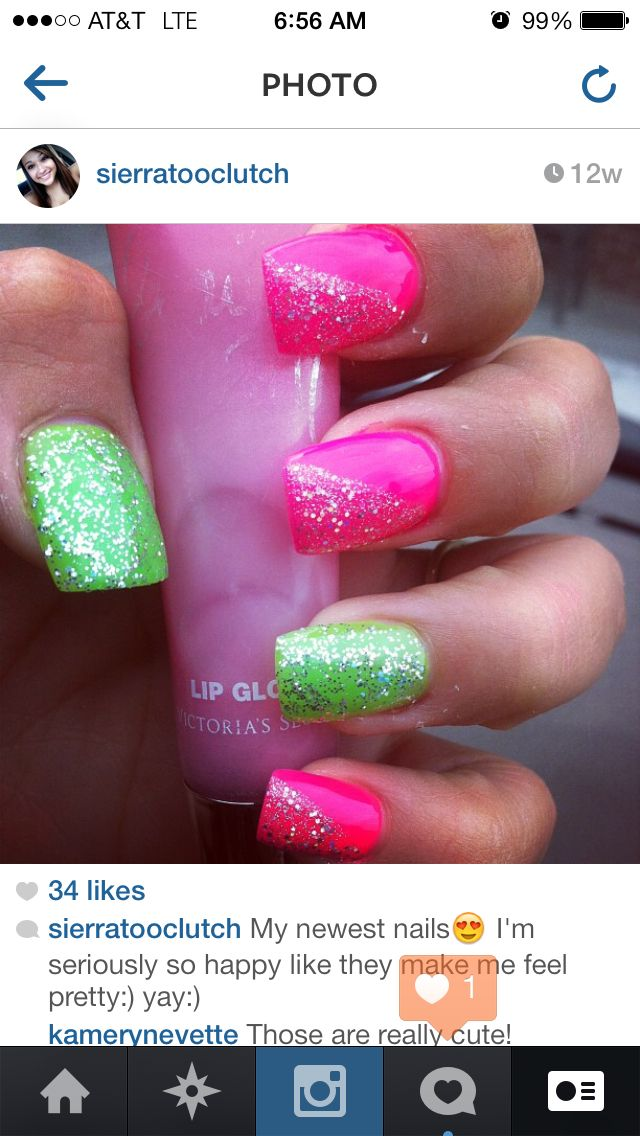 Hot pink and lime green nails