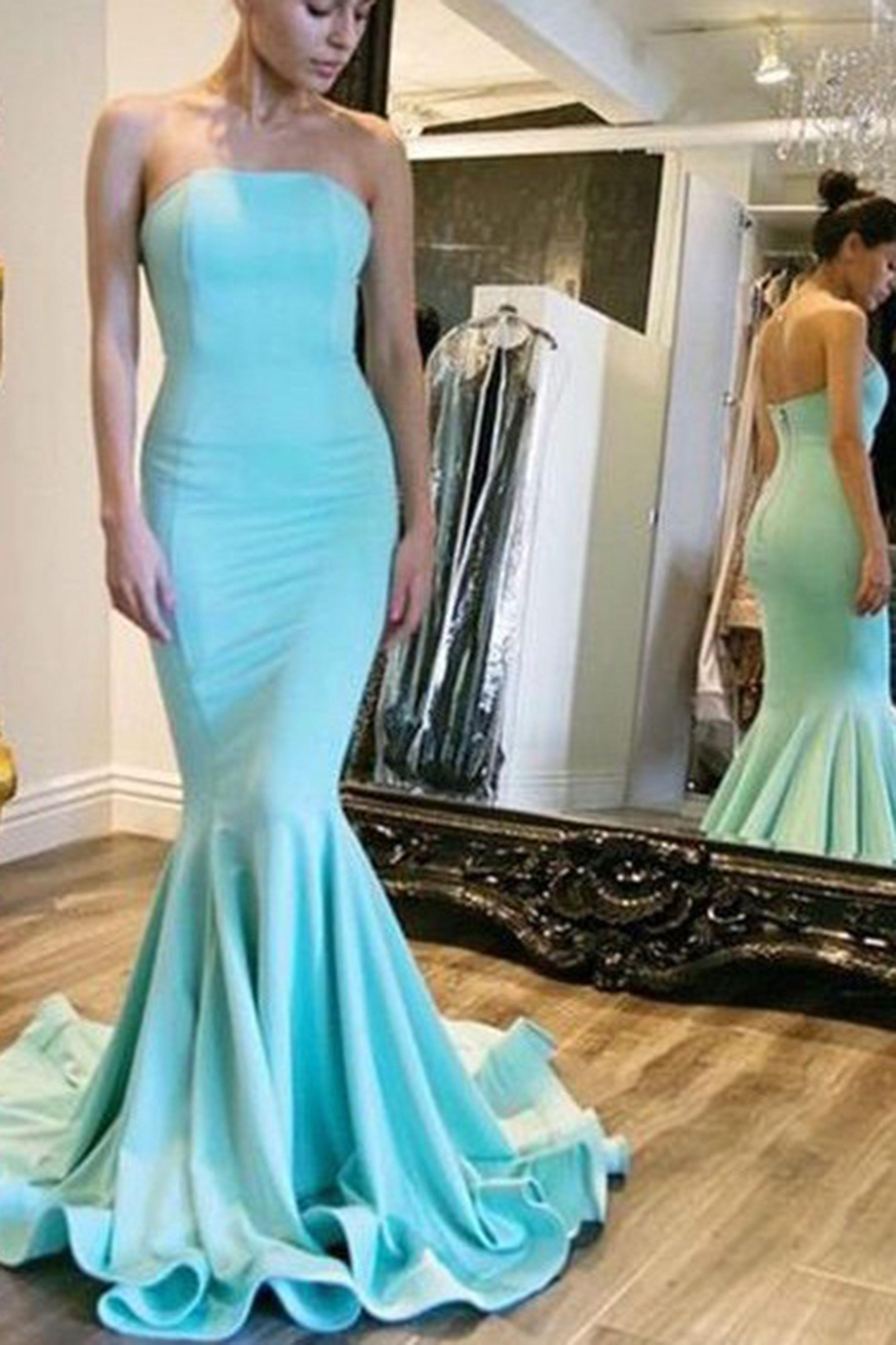Mermaid prom dress, chiffon prom dress, elegant blue chiffon long ...