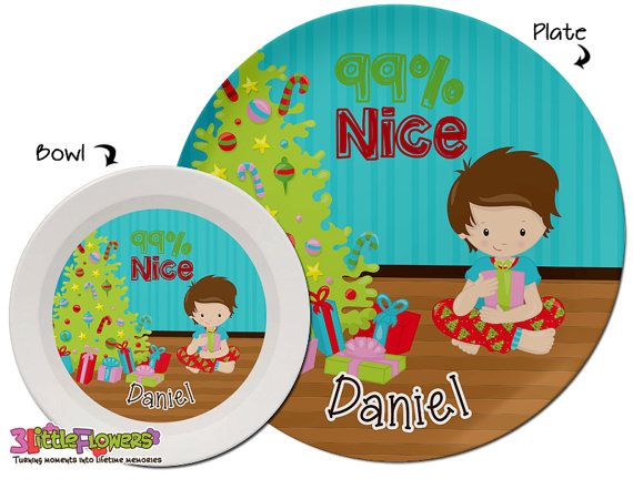 Christmas Plate and Bowl Set - Personalized Plastic Children Plate Cereal Bowl - Choose HAIR SKIN color - Christmas Morning Plate Set  sc 1 st  Pinterest & Christmas Plate and Bowl Set - Personalized Plastic Children Plate ...