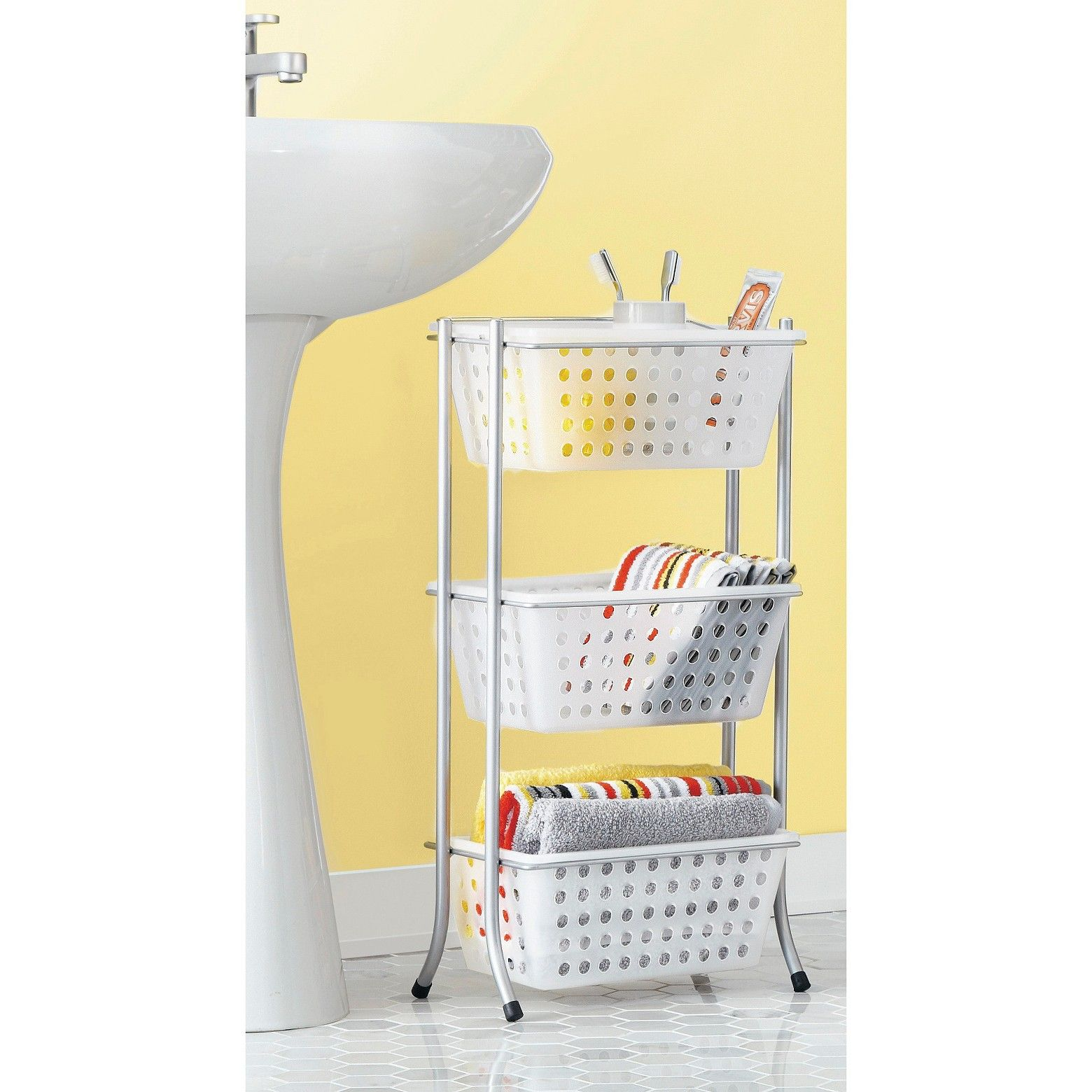 Bath Storage Rack with Removable Totes Frost - Room Essentials ...